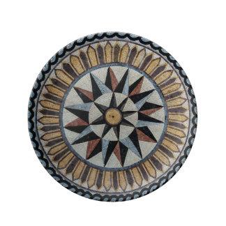数々のなコンパスの装飾の大理石のモザイク 磁器プレート