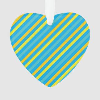 数々のな対角線のストライプの青いデザイン オーナメント