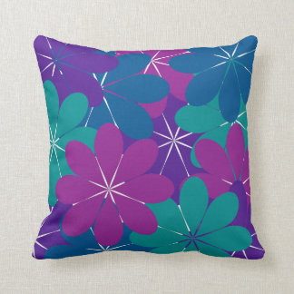 数々のな紫色の青緑の花柄の装飾用クッション クッション