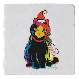 数々のな色のクリスマス猫 トリベット