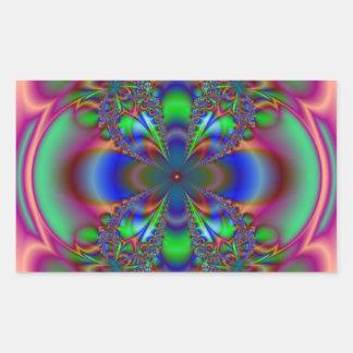 数々のな色のフラクタルの花 長方形シール