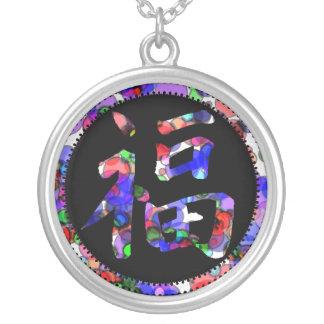 数々のな色の幸運の漢字の魅力のネックレス シルバープレートネックレス