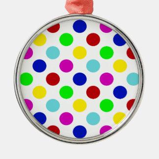 数々のな色の水玉模様 メタルオーナメント