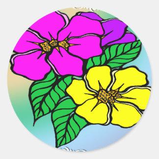 数々のな色の花柄 ラウンドシール