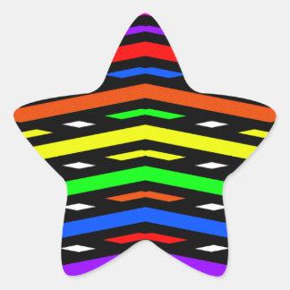 数々のな鋭い波の抽象芸術 星シール
