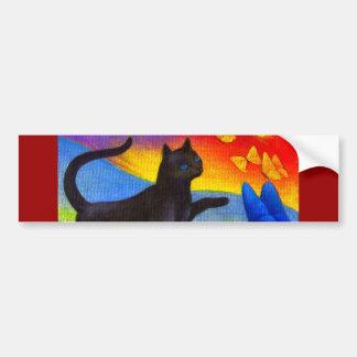 数々のな黒猫の絵画の蝶芸術- バンパーステッカー
