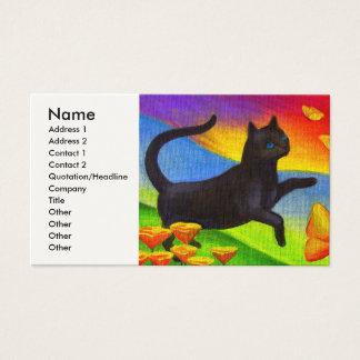 数々のな黒猫の絵画の蝶芸術- 名刺