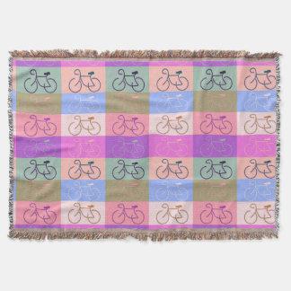 数々のバイク-ピンク、モモ、緑および青 スローブランケット