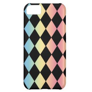 数々のパステル調の背景とチェックメート黒い iPhone5Cケース