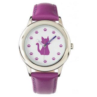 数として足を搭載する紫色猫のシルエット 腕時計