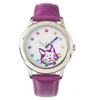 数として足を搭載する紫色猫をかいま見ること 腕時計