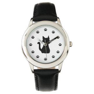 数として足を搭載する黒猫のシルエット 腕時計