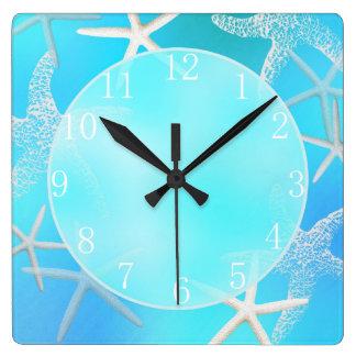 数を用いるアクアマリンのヒトデの柱時計 スクエア壁時計