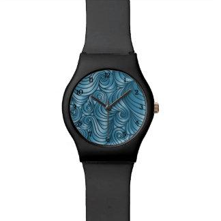 数を用いるティール(緑がかった色)の渦巻の腕時計 腕時計