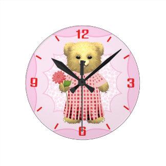 数を用いるベビーのEllaくまの時計 ラウンド壁時計