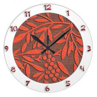 数を用いる神聖なタケ赤い日本様式 ラージ壁時計