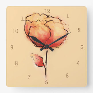 数を用いる花のデザインの時計 スクエア壁時計