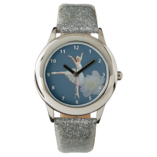数字の青、白いシャクヤクのバレリーナ 腕時計