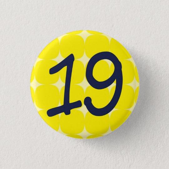 【数字】19バッチ 3.2CM 丸型バッジ