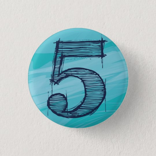 【数字】5バッチ(水色) 3.2CM 丸型バッジ