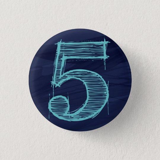 【数字】5バッチ(紺) 3.2CM 丸型バッジ