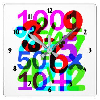 数学のおもしろいのカラフル数タイポグラフィをして下さい スクエア壁時計