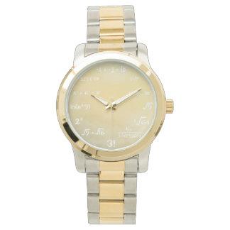 数学のギーク-金ゴールドのための数学の同等化の腕時計 腕時計