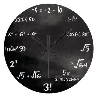 数学のクイズの円形の時計(カスタム) ラージ壁時計