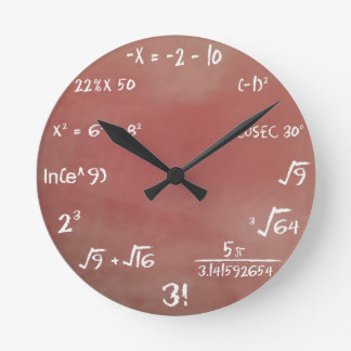 数学のクイズの時計-ブラウン媒体 ラウンド壁時計