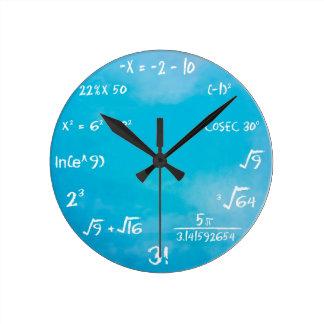 数学のクイズの時計-時計の青 ラウンド壁時計