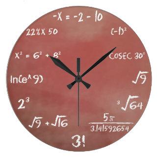 数学のクイズの柱時計 ラージ壁時計