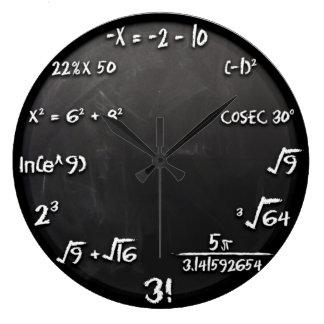 数学の同等化の時計(黒) ラージ壁時計
