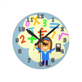 数学の女の子の漫画 ラウンド壁時計