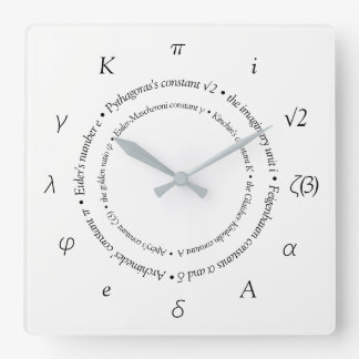 数学の定数の正方形の柱時計 スクエア壁時計