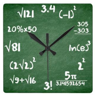 数学の恋人のための数学の時計 スクエア壁時計