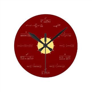 数学の時計(赤い背景) ラウンド壁時計