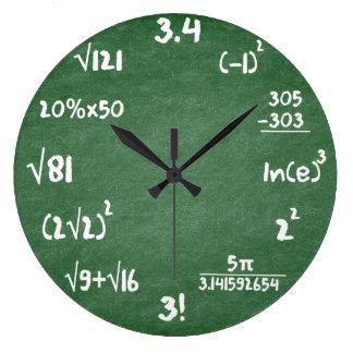 数学の緑の石板の数学の柱時計 ラージ壁時計