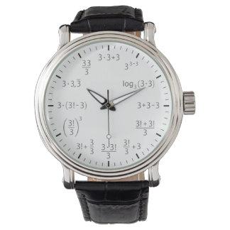数学の腕時計3 x 3 -シンプルの美しい リストウオッチ