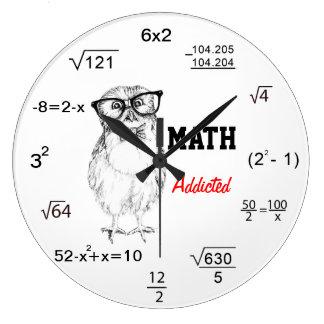 数学は真面目なフクロウを熱中しました ラージ壁時計