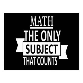 数学。 数える唯一の主題。 数学のしゃれの冗談 ポストカード