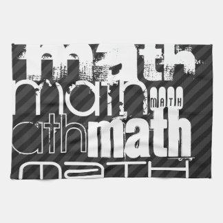 数学; 黒及びダークグレーは縞で飾ります キッチンタオル
