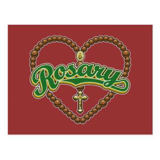 数珠のハートの緑のロゴ ポストカード