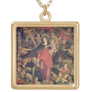 数珠のマドンナ、c.1569 (キャンバスの油) ゴールドプレートネックレス