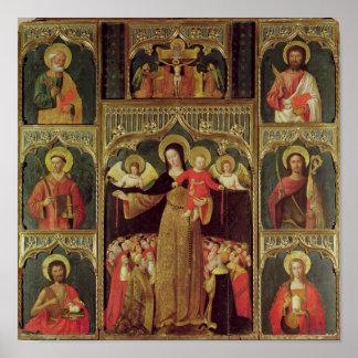 数珠のヴァージンの祭壇の背後の飾り、c.1500 ポスター
