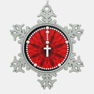 数珠の夢のキャッチャーの赤 スノーフレークピューターオーナメント