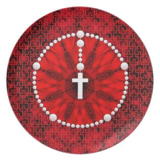 数珠の夢のキャッチャーの赤 プレート