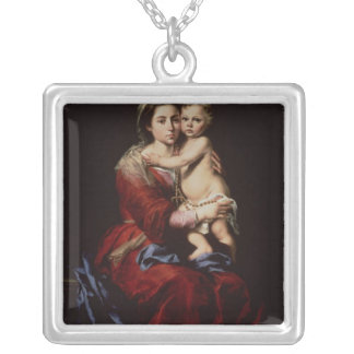 数珠、c.1650のヴァージン シルバープレートネックレス