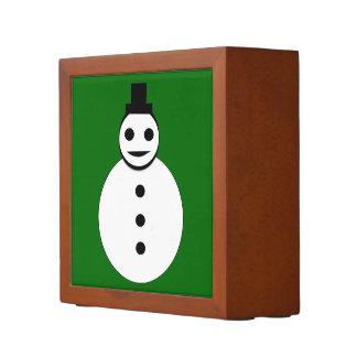 整頓された微笑のクリスマスの雪だるまの机 ペンスタンド