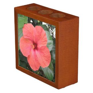 整頓された美しいオレンジハイビスカスの花の机 ペンスタンド