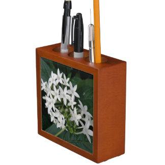 整頓された美しく白い熱帯花の机 ペンスタンド
